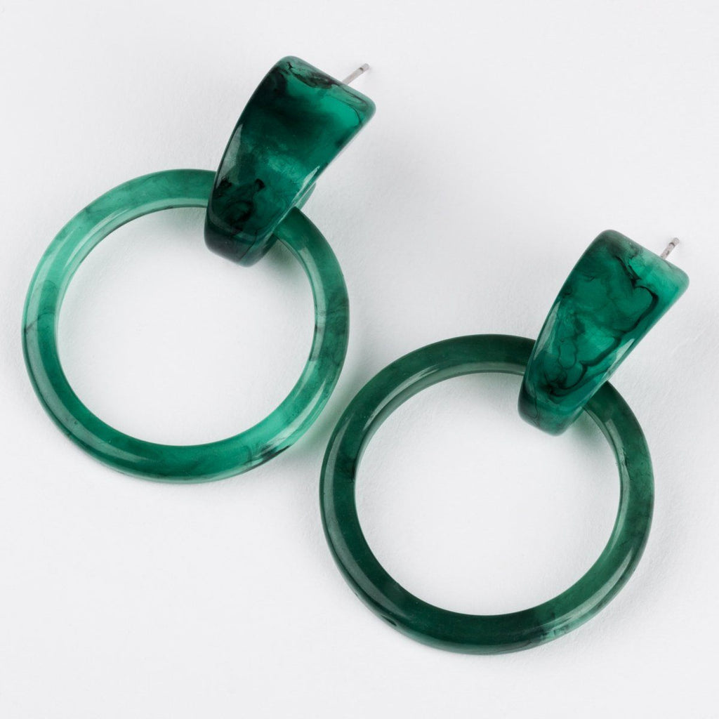 Casa Clara Milly Hoops Jade Earrings