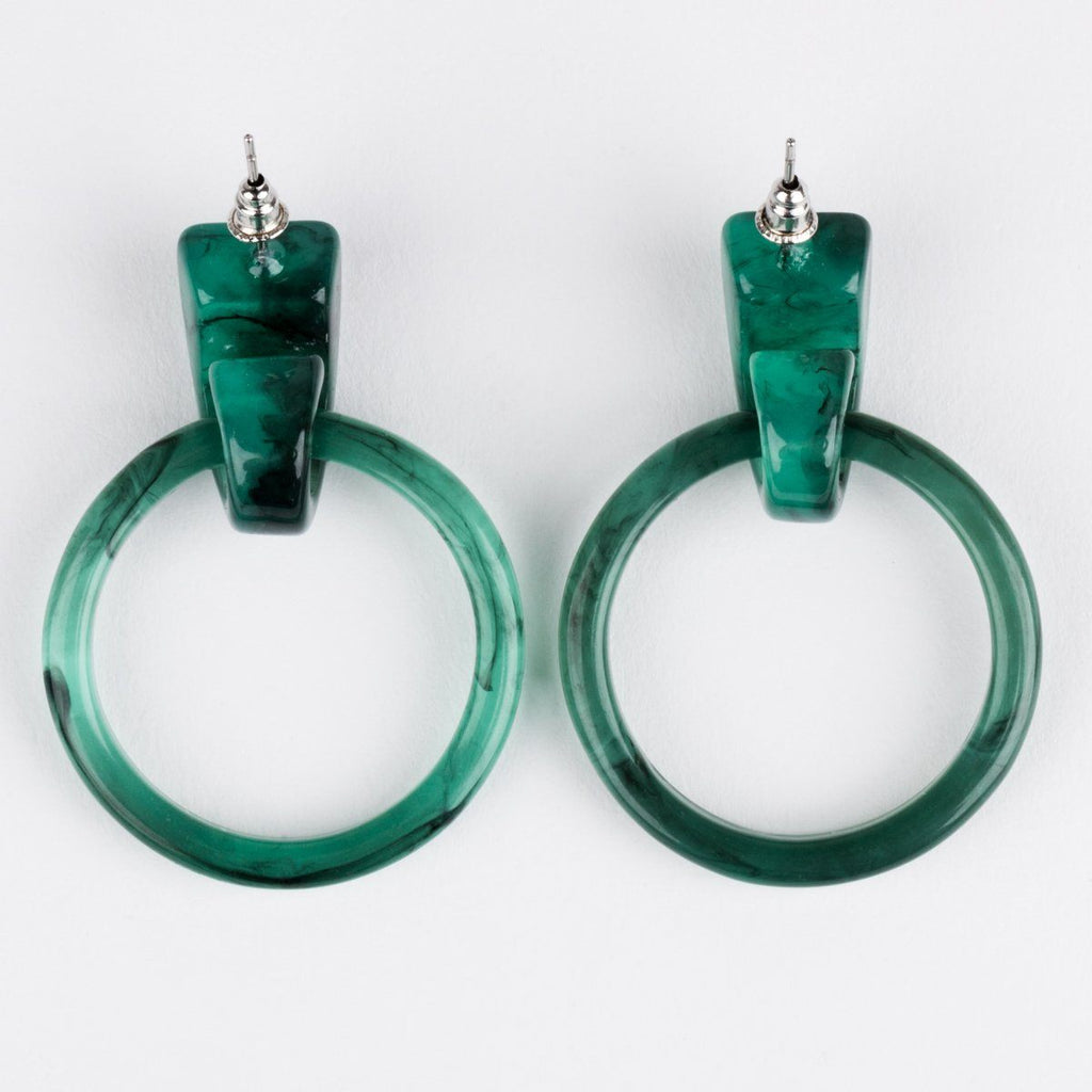 Casa Clara Milly Hoops Green Earrings