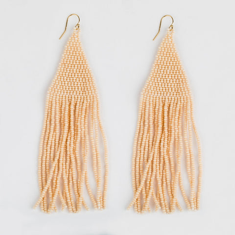 Lily Beaded Earrings in Ivory - earrings - Casa Clara local eclectic