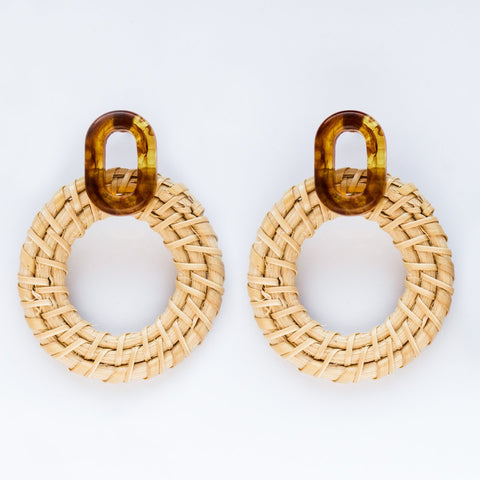 Cleo Rattan Hoops - earrings - Casa Clara local eclectic