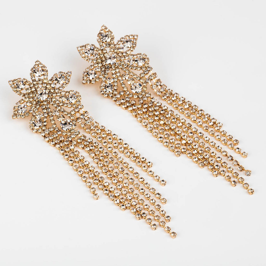 Large Statement Sparkly CZ Floral Party Jewel Earrings Casa Clara