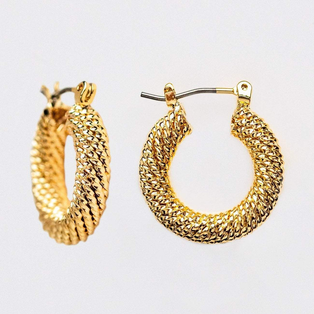 Small Textured Statement Hoops Yellow Gold Casa Clara