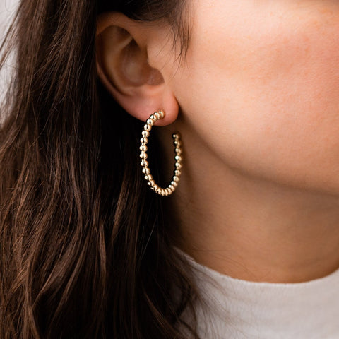Textured Statement Yellow Gold Hoop Earring Casa Clara
