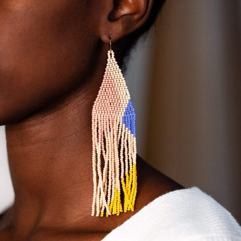 Minimal Designed Statement Glass Beaded Earring Casa Clara