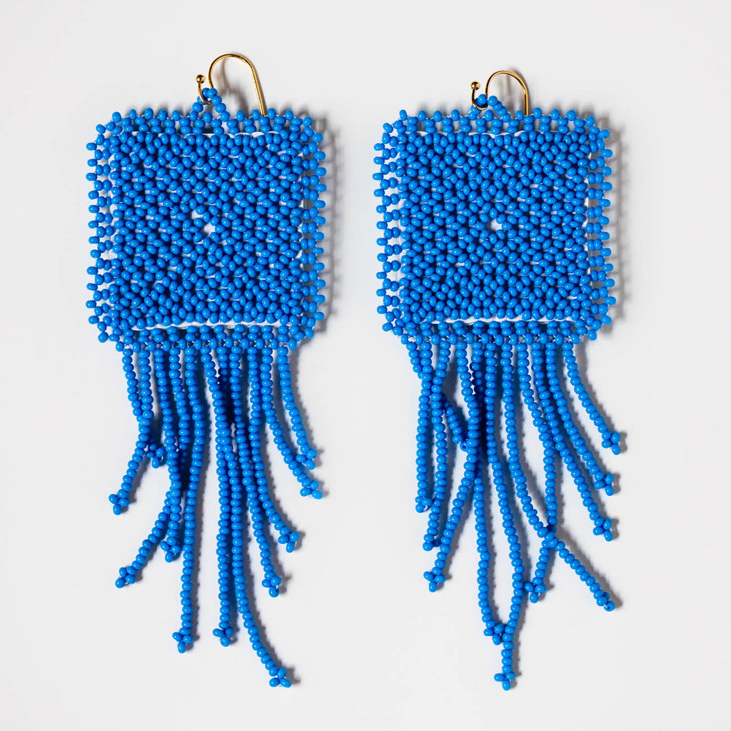 glass hand beaded earrings in blue pop unique statement jewelry