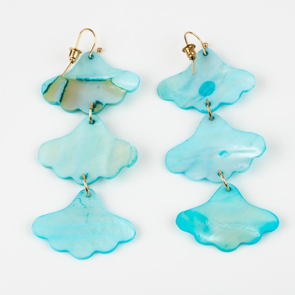 shell drop earrings baby aqua statement spring break beach jewelry