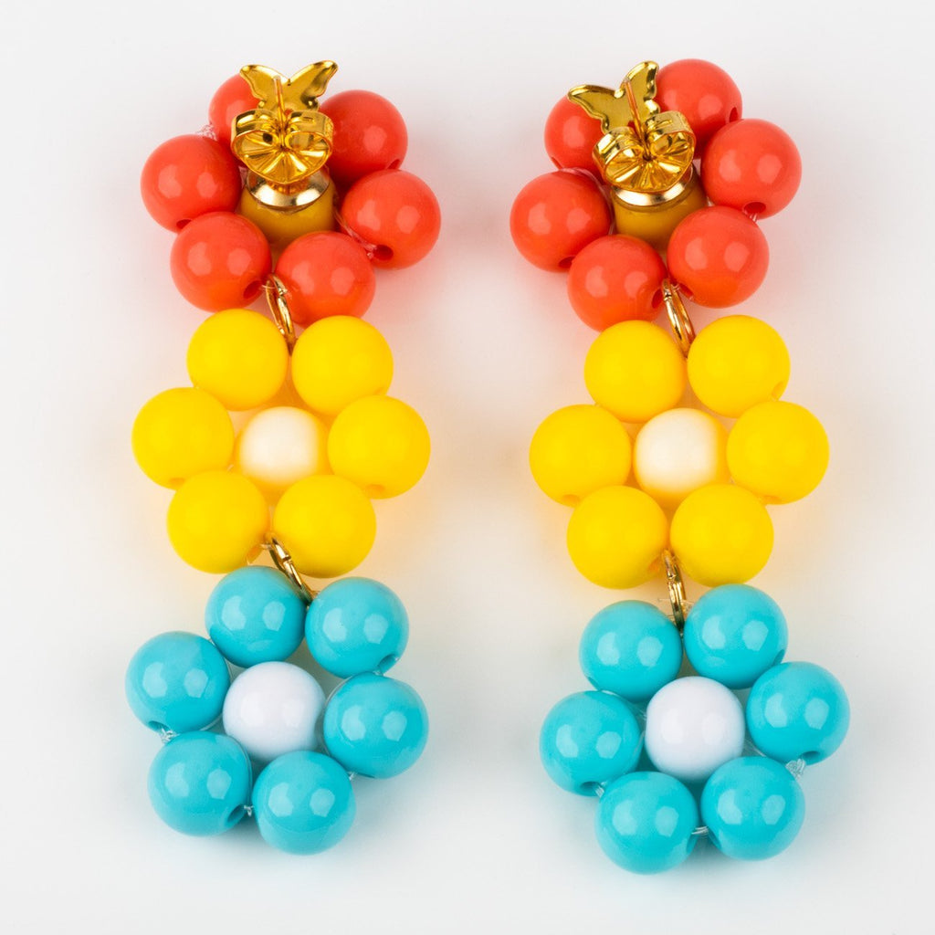 beaded flower drop statement earrings unique fun jewelry