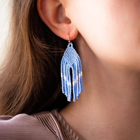 claire earrings in azula blue unique beaded statement earrings