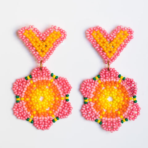 lolita beaded earrings in dragonfruit statement heart summer earrings
