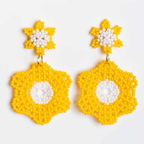 sayulita beaded earrings in sunburst bright yellow statement earrings