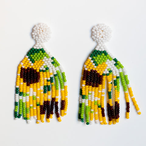 lou beaded earrings in sunflower floral inspired statement jewelry
