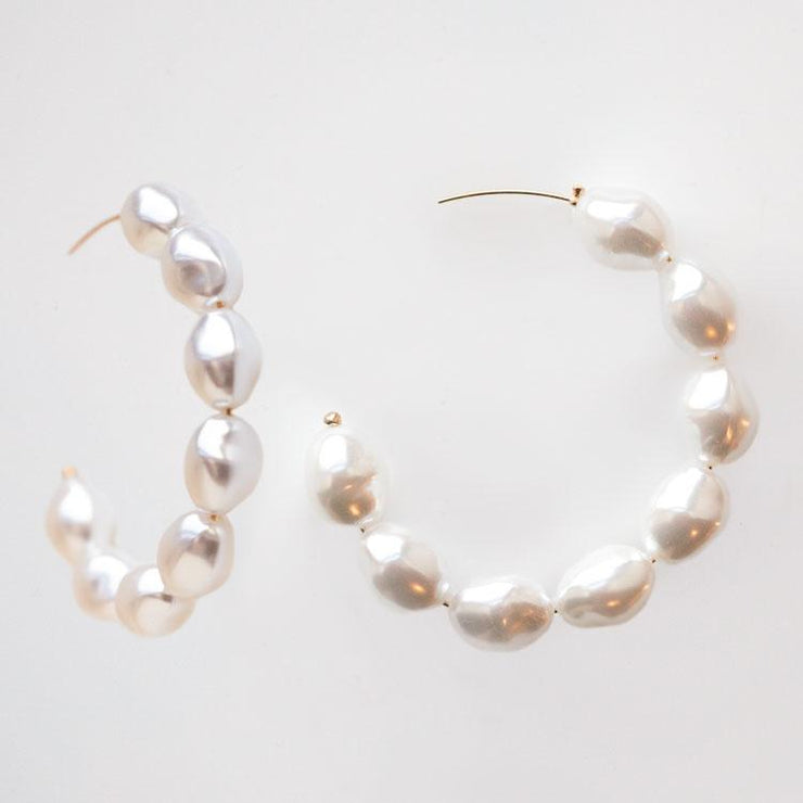 Junie Pearl Hoop Earrings large statement modern minimal yellow gold jewelry