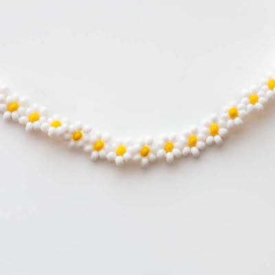 Zara Necklace in White Daisy unique statement modern beaded floral inspired jewelry