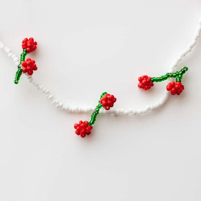 Teddy Cherry Necklace unique beaded fruit inspired cute jewelry