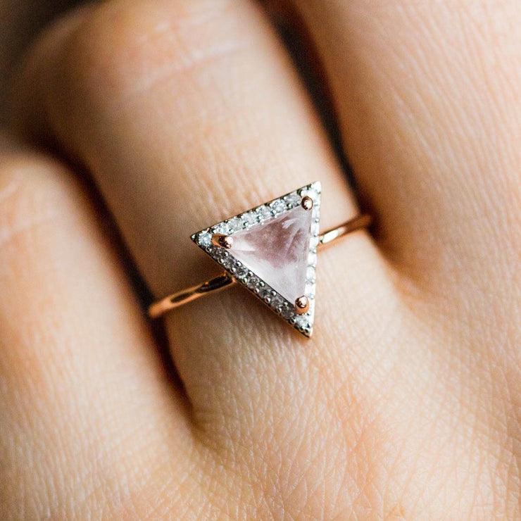Rose Gold, Pink Quartz & Diamond Triangle Ring - rings - Carrie Elizabeth Jewelry local eclectic