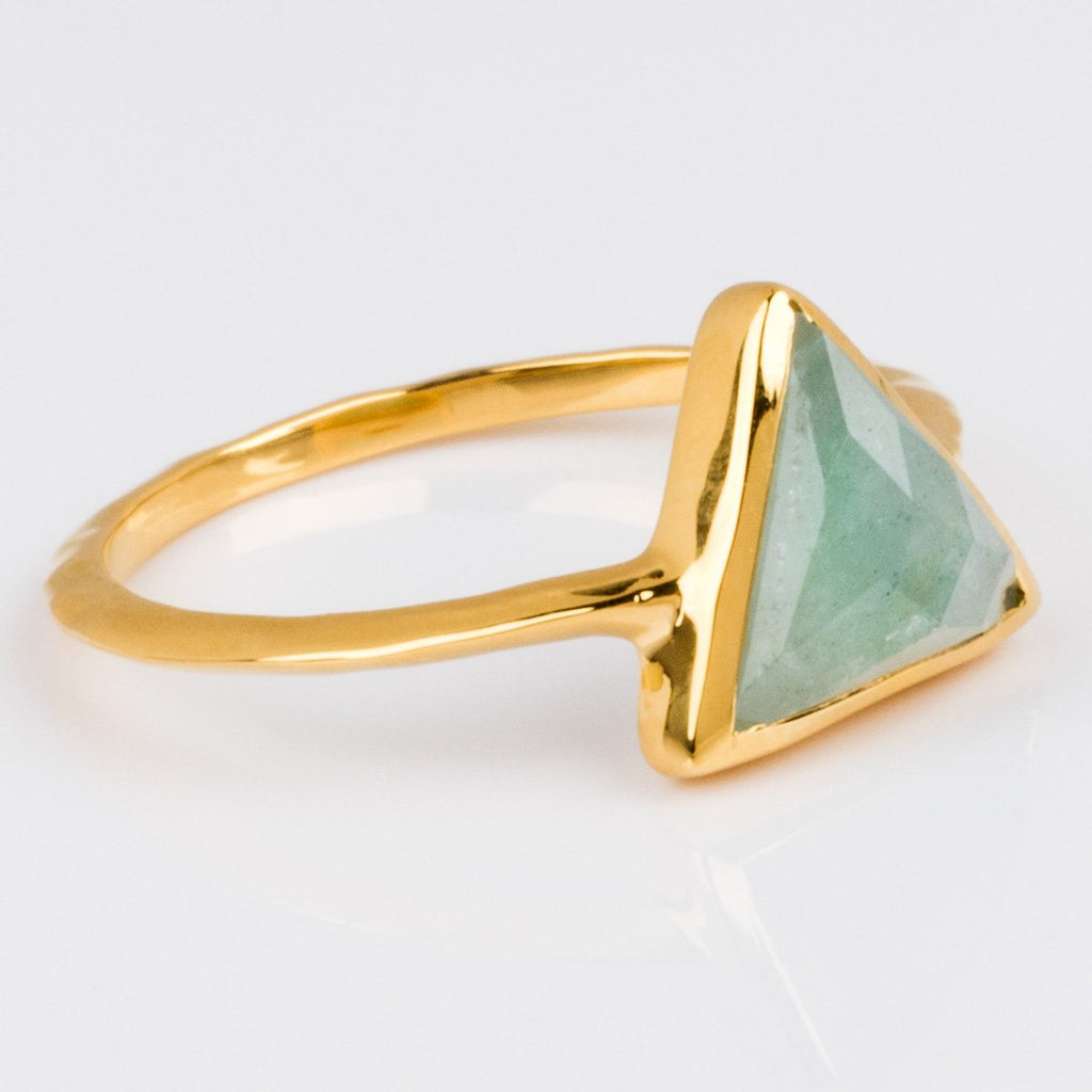 Aquamarine Triangle Semi-Precious Ring - rings - Carrie Elizabeth Jewelry local eclectic