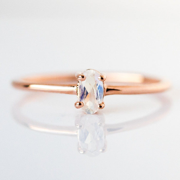 Diamond & Moonstone Stacking Ring Set - rings - Carrie Elizabeth Jewelry local eclectic
