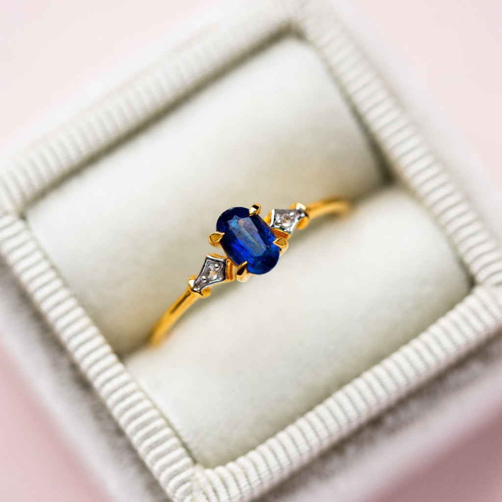 Vintage Inspired Kyanite and Diamond Ring