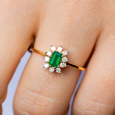 Gold Kate Ring with Green Onyx Statement Ring