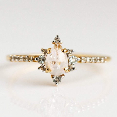 Morganite  Diamond Snow Queen Gold Ring