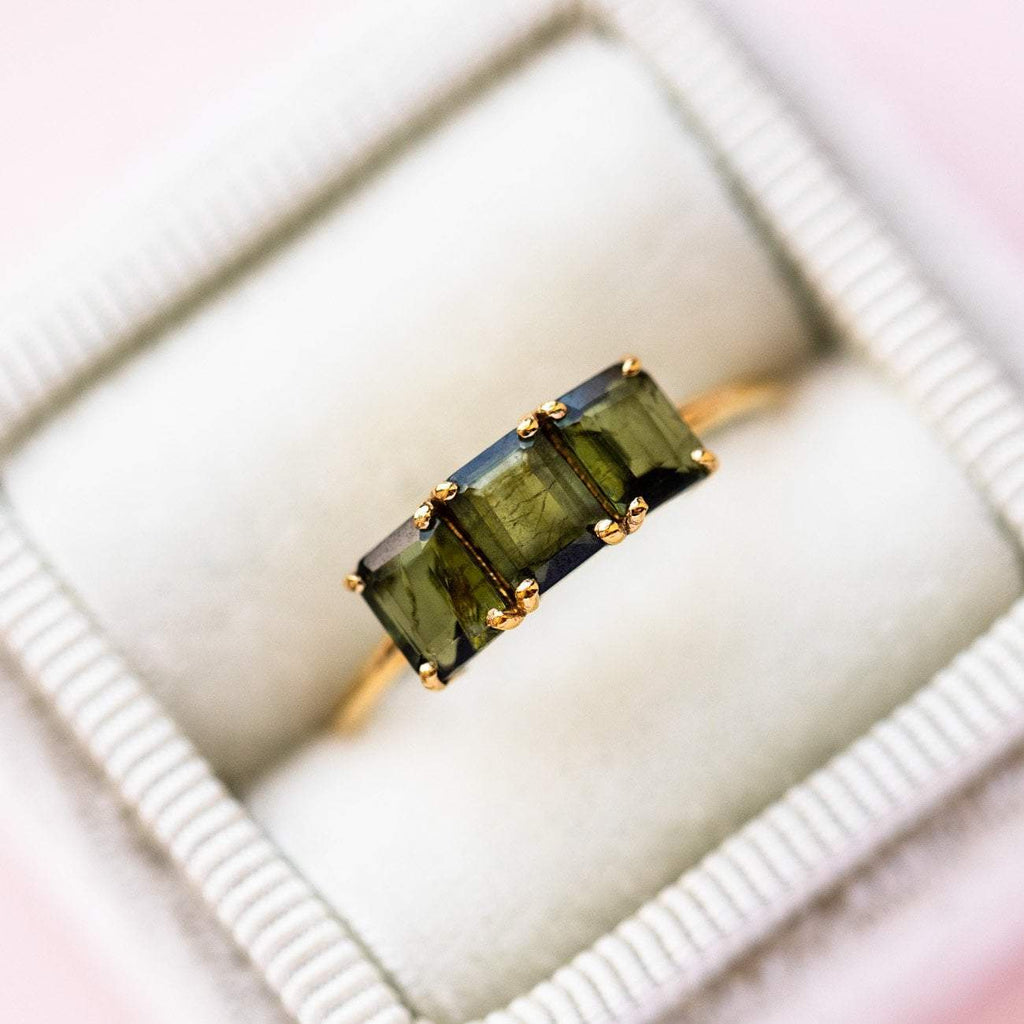 Green Tourmaline Vintage Inspired Emerald Cut Ring