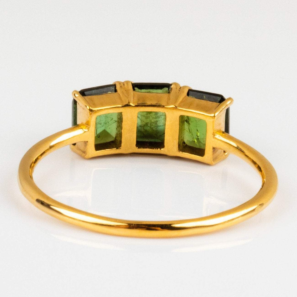 Tourmaline Moss Green Square Cut Gold Vintage Ring