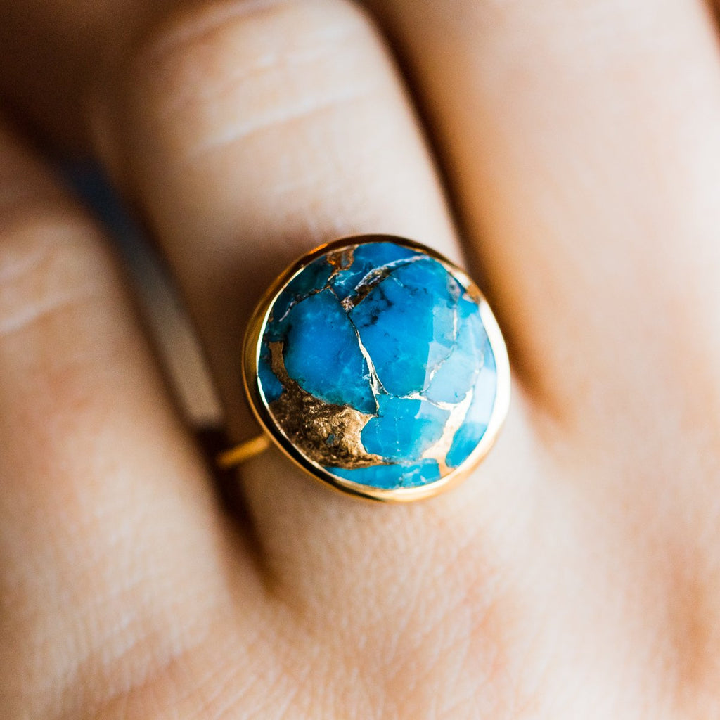 Statement Turquoise Mohave Gold Ring Carrie Elizabeth