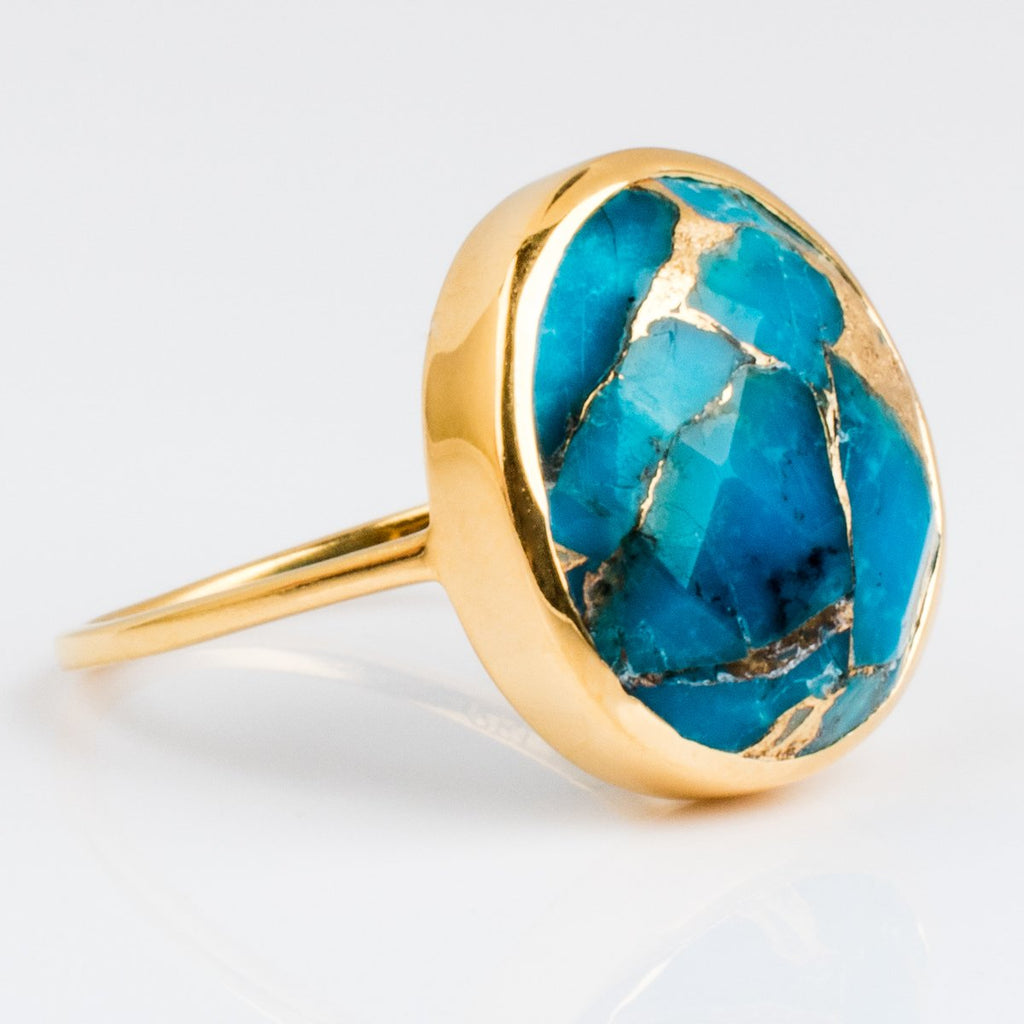 Natural Mohave Turquoise Gold Bezel Statement Ring