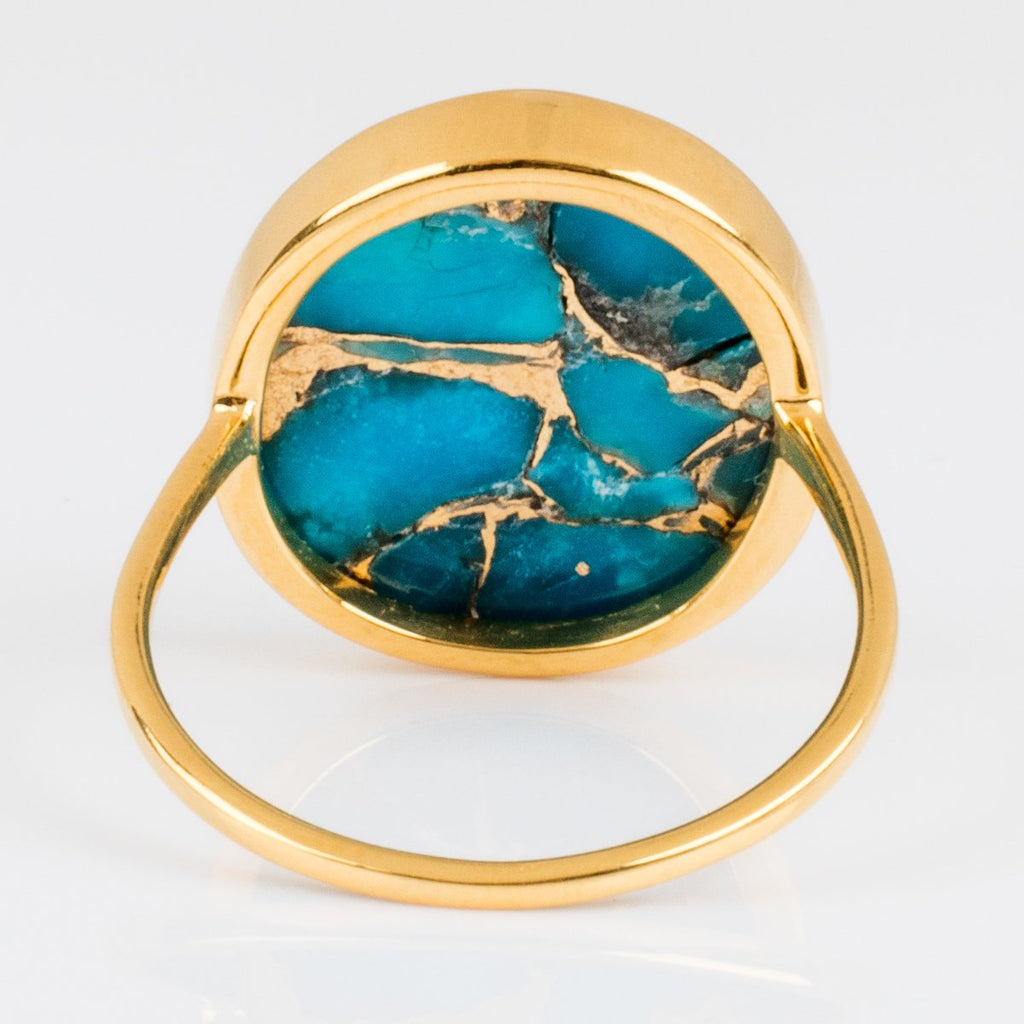 Carrie Elizabeth Turquoise Gold Bezel Statement Ring