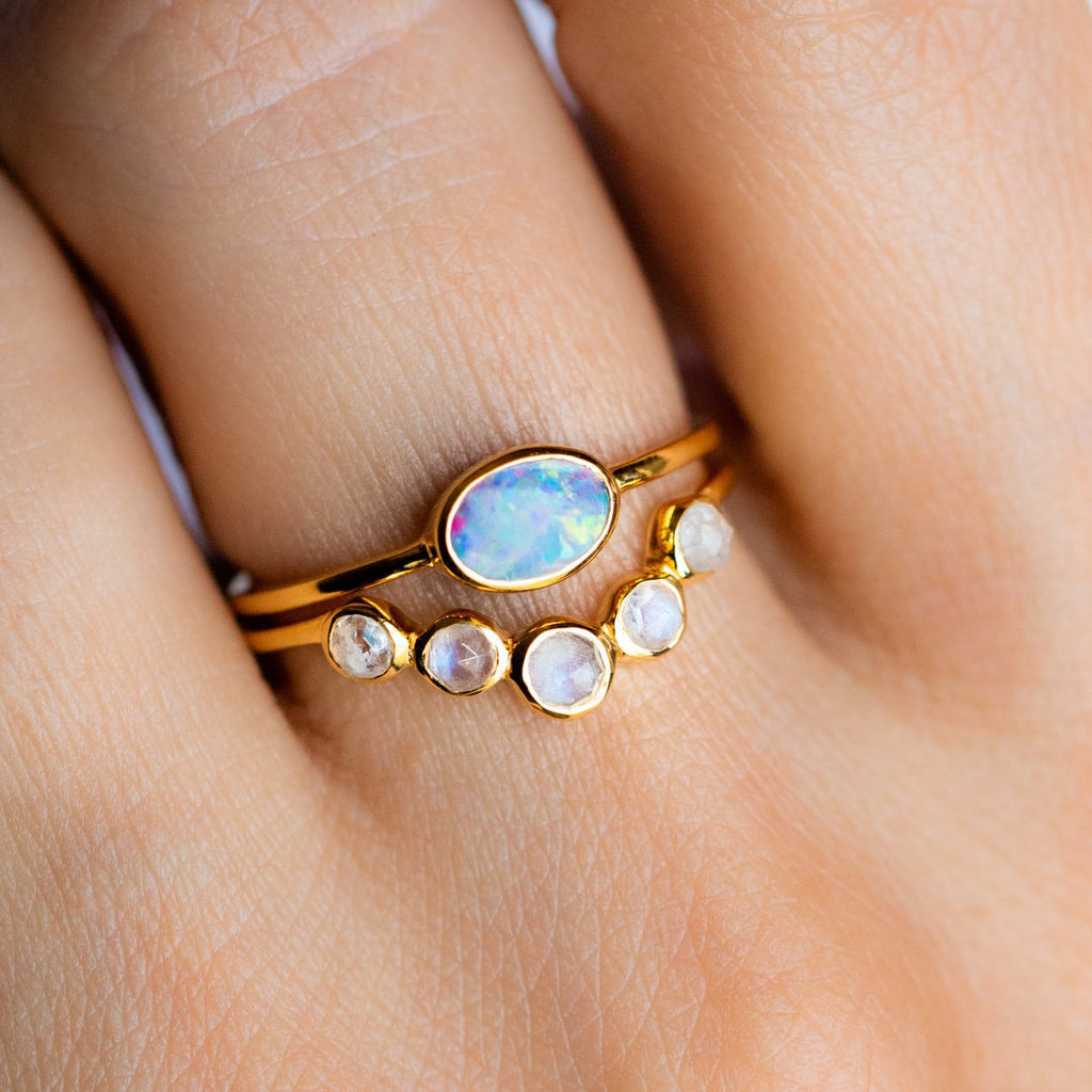 Glowy Moonstone Opal RIng Stack 14K Yellow Gold Vermeil