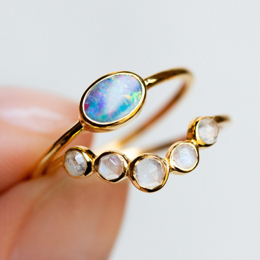 Opal 14K Yellow Gold Vermeil Moonstone Ring Stack Carrie Elizabeth