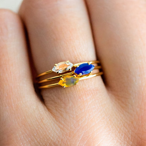 set of 3 gold opal topaz rings stackable yellow gold jewelry