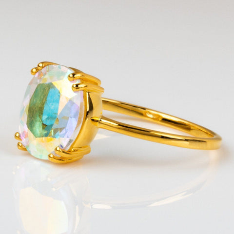 mystic topaz ring yellow gold unique statement jewelry
