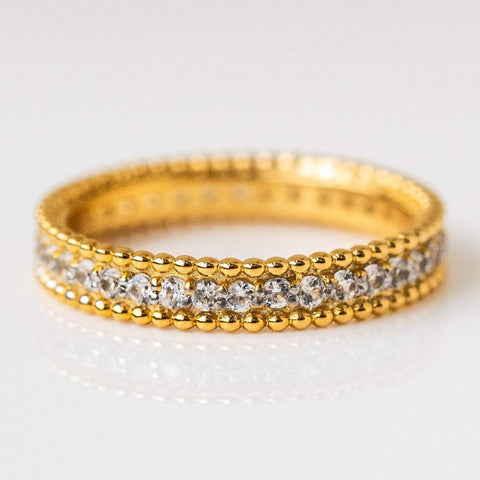 bubble edge band cz encrusted eternity band yellow gold modern jewelry