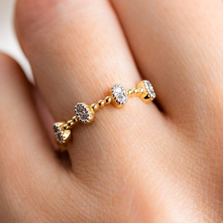 dainty bobble ring oval white zircon gemstones beaded band yellow gold jewelry