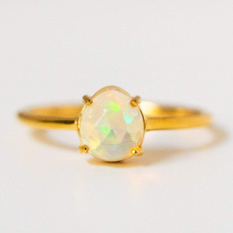 opal prong set ring simple modern unique opal ring yellow gold jewelry