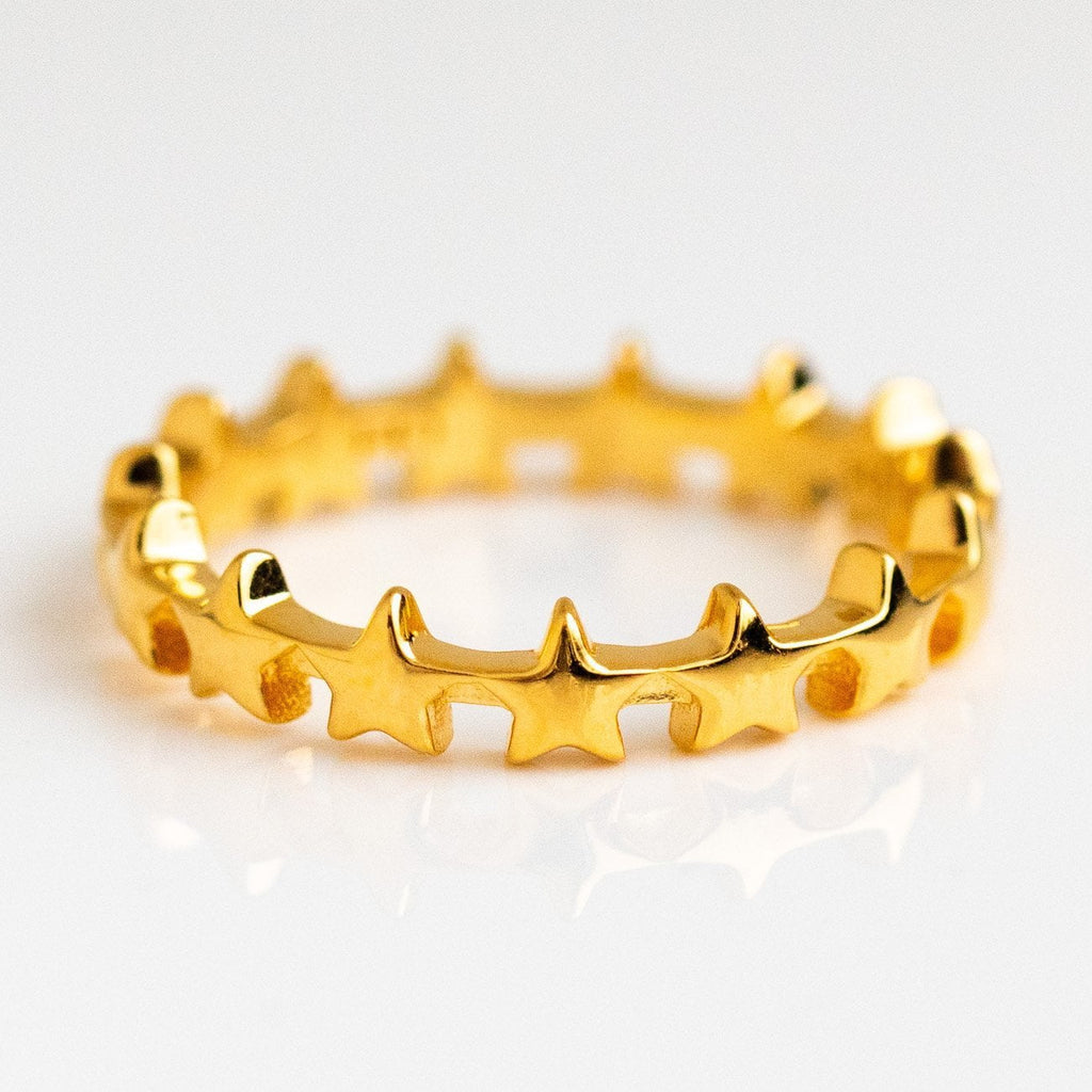 Celestial Star Stacking Band Ring Carrie Elizabeth Yellow Gold Jewelry