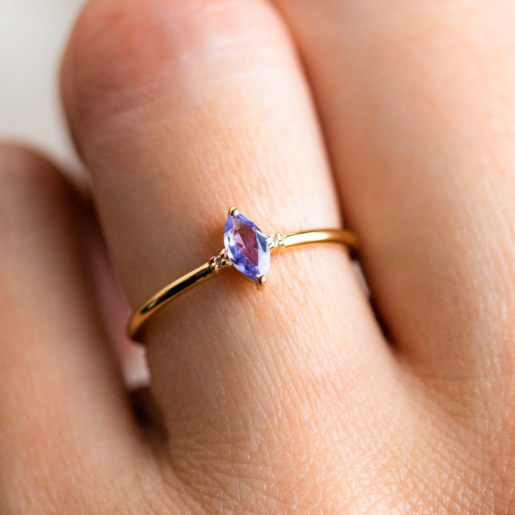 simple marquise ring with tanzanite dainty yellow gold jewelry