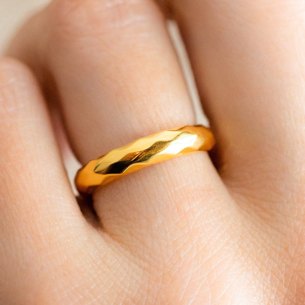 chunky faceted yellow gold band ring simple statement jewelry