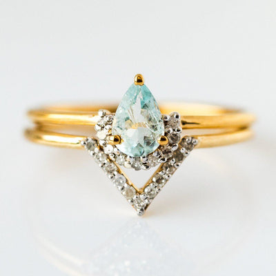 Light Aquamarine & Diamond Angel Stacking Ring Set - rings - Carrie Elizabeth Jewelry local eclectic