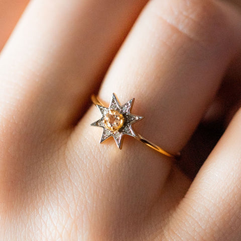 morganite pave star ring yellow gold minimal jewelry