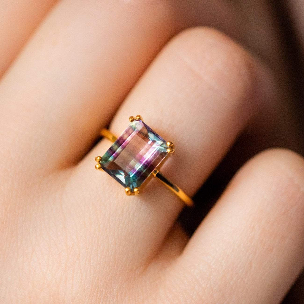emerald cut fluorite ring unique modern statement jewlery