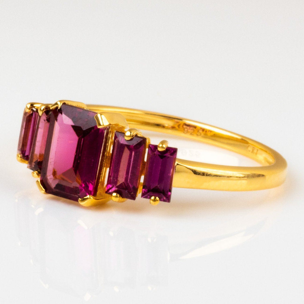 deco ring with rhodolite yellow gold statement cocktail ring