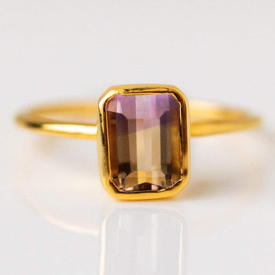 ametrine rectangle cut ring yellow gold modern jewelry