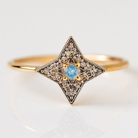 solid yellow gold mini pave star ring dainty fine diamond jewelry