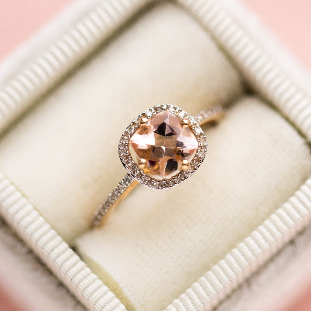 14k solid gold morganite and diamond ring yellow gold fine jewelry