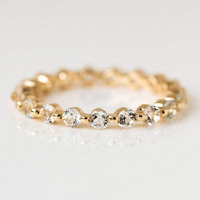 solid yellow gold white topaz eternity band ring fine jewelry