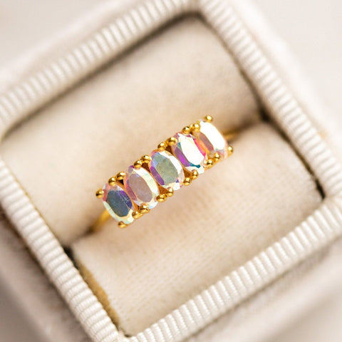 Galaxy Ring in Mercury Mystic Topaz unique stone dainty yellow gold modern jewelry