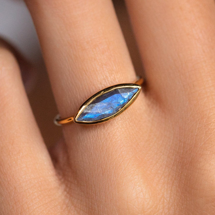 Bezel Set Stacking Ring in Labradorite simple modern chic yellow gold jewelry