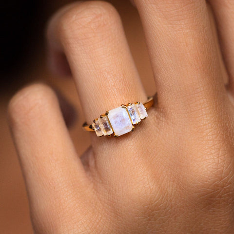 Deco Ring with moonstone modern vintage inspired yellow gold jewelry